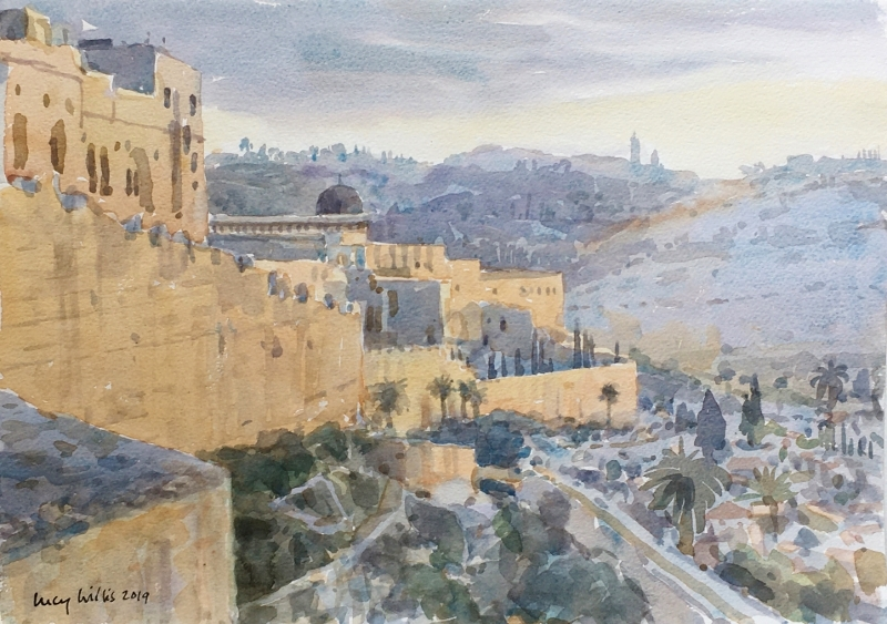 Sunrise on the City Wall, Jerusalem from The Holy Land and Other Travels exhibition