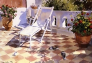 Deckchair and Geraniums